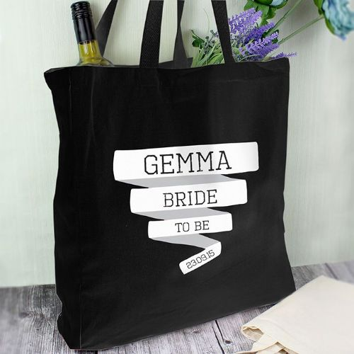 Personalised Banner Black Cotton Bag